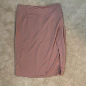 High Waisted Slit Blush Skirt